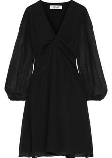 Diane Von Furstenberg Woman Kala Twist-front Chiffon Dress Black