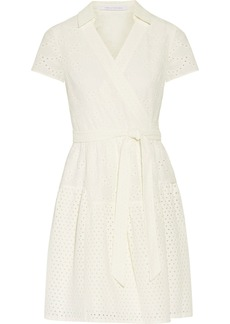 Diane Von Furstenberg Woman Kaley Wrap-effect Broderie Anglaise Cotton Dress Ivory