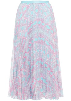 Diane Von Furstenberg Woman Kalina Pleated Snake-print Chiffon Midi Skirt Sky Blue
