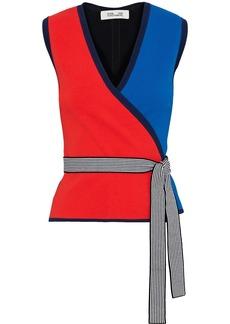 Diane Von Furstenberg Woman Kandy Color-block Stretch-knit Wrap Top Multicolor