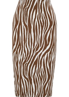 Diane Von Furstenberg Woman Kara Floral-print Cady Pencil Skirt Brown