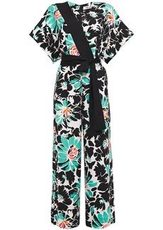 Diane Von Furstenberg Woman Karissa Wrap-effect Floral-print Stretch-crepe Wide-leg Jumpsuit Black