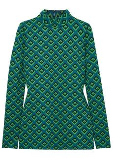 Diane Von Furstenberg Woman Kasen Jacquard-knit Turtleneck Top Teal