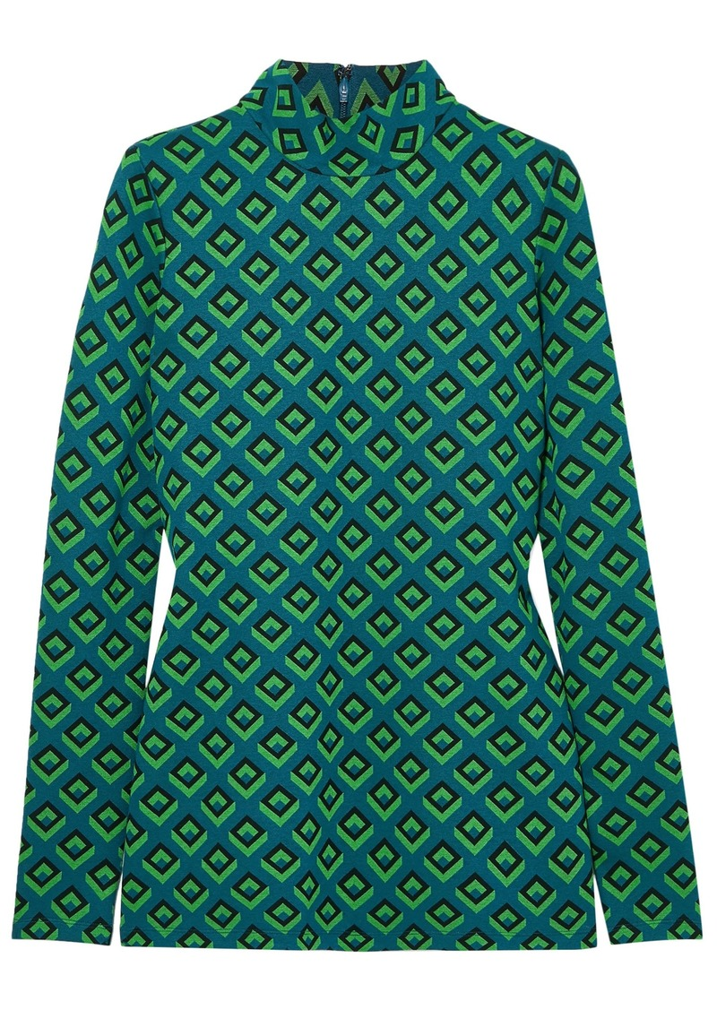 Diane Von Furstenberg Woman Kasen Jacquard-knit Turtleneck Top Teal