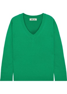 Diane Von Furstenberg Woman Kat Two-tone Wool And Cashmere-blend Sweater Green