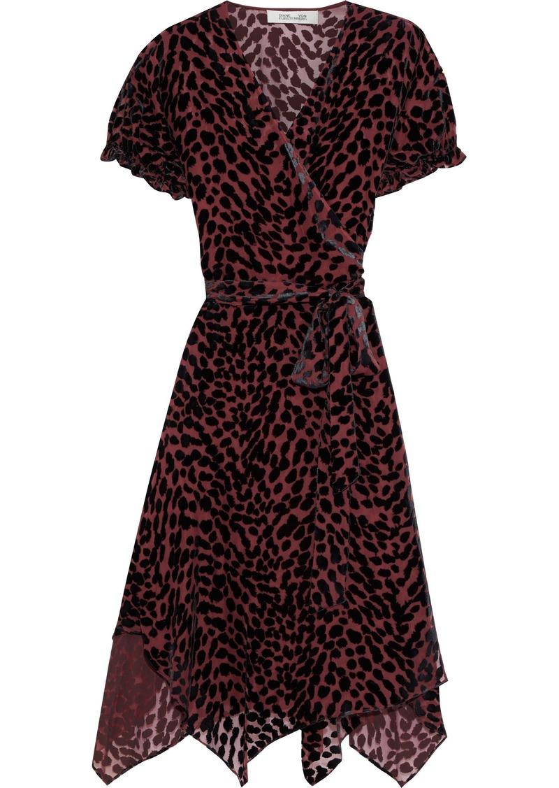 Diane Von Furstenberg Woman Katherine Devoré-velvet Wrap Dress Merlot