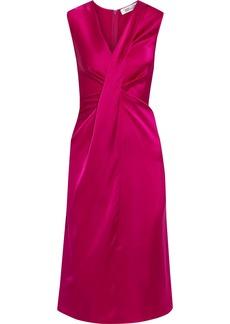 Diane Von Furstenberg Woman Katrina Draped Satin Midi Dress Magenta