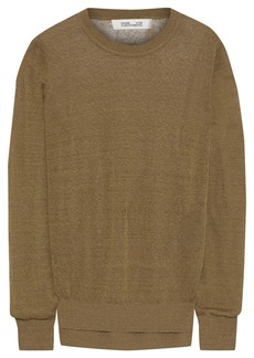 Diane Von Furstenberg Woman Kayla Slub Linen-blend Sweater Army Green