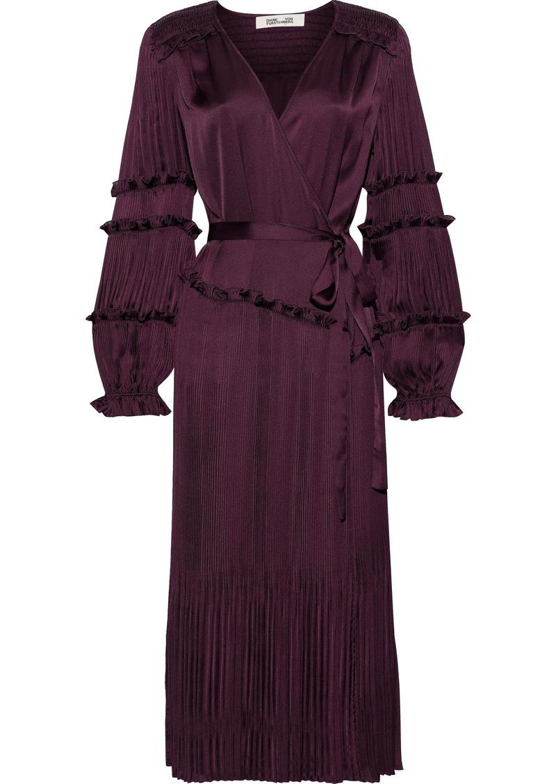 Diane Von Furstenberg Woman Keira Satin-paneled Plissé Crepe De Chine Wrap Dress Merlot