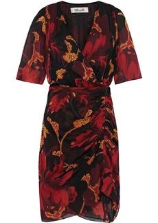 Diane Von Furstenberg Woman Kelda Ruched Floral-print Silk-georgette Mini Dress Black