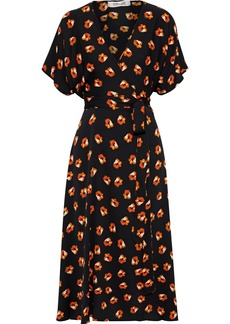 Diane Von Furstenberg Woman Kelsey Floral-print Stretch-silk Midi Wrap Dress Black