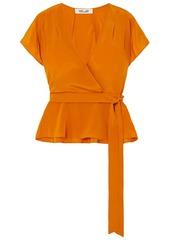 Diane Von Furstenberg Woman Kelsey Pleated Silk Crepe De Chine Wrap Top Orange