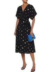 Diane Von Furstenberg Woman Kelsey Printed Crepe Midi Wrap Dress Black