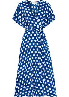 Diane Von Furstenberg Woman Kelsey Printed Silk Crepe De Chine Midi Wrap Dress Bright Blue