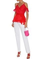 Diane Von Furstenberg Woman Kemma Cold-shoulder Ruffle-trimmed Silk-georgette Wrap Top Tomato Red