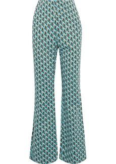 Diane Von Furstenberg Woman Kenia Jacquard-knit Flared Pants Turquoise