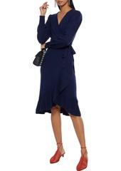 Diane Von Furstenberg Woman Kennedy Ruffled Wool And Cashmere-blend Wrap Dress Navy