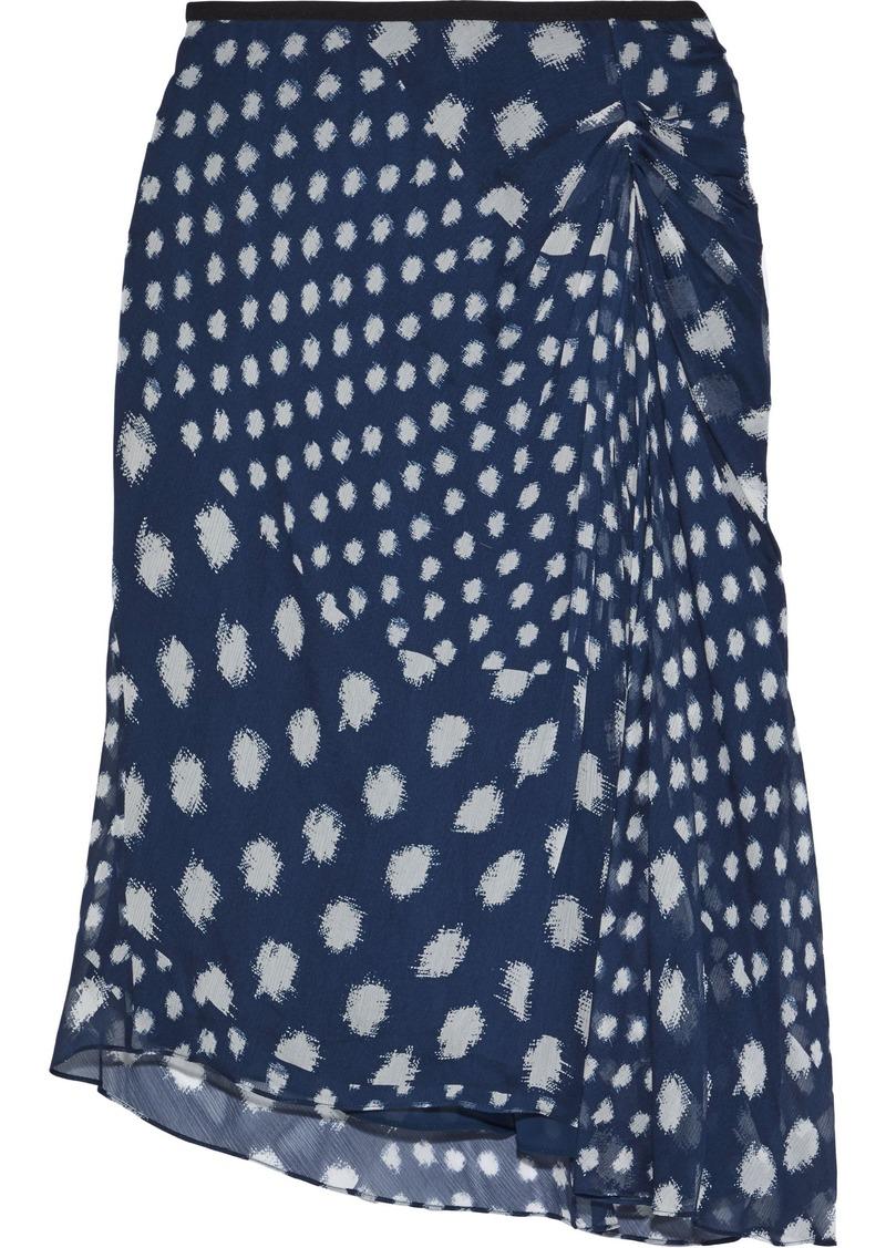 Diane Von Furstenberg Woman Kessa Asymmetric Printed Silk-georgette Skirt Navy