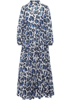 Diane Von Furstenberg Woman Kiara Gathered Printed Voile Maxi Dress Blue