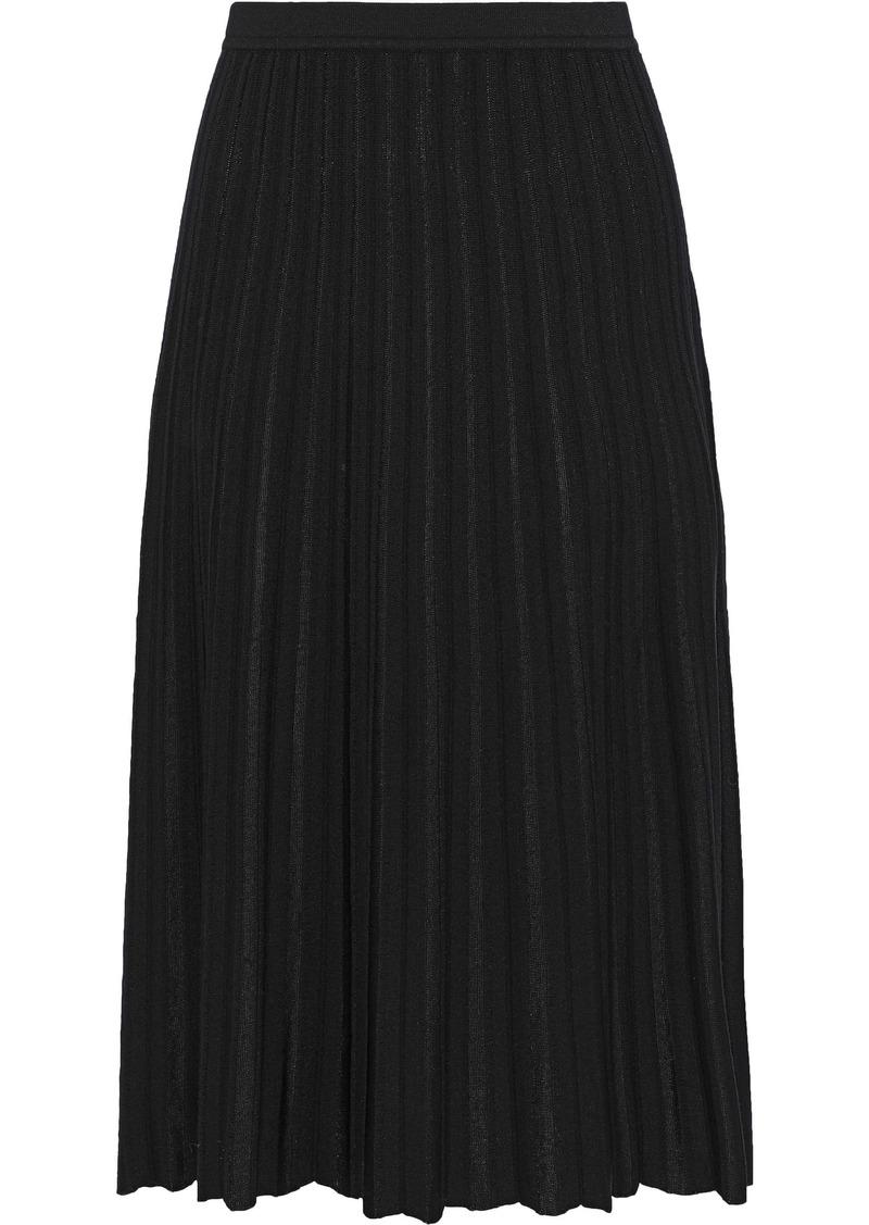 Diane Von Furstenberg Woman Kiara Pleated Ribbed-knit Skirt Black