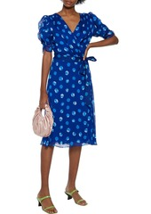 Diane Von Furstenberg Woman Kimora Ruched Polka-dot Silk-georgette Wrap Dress Bright Blue