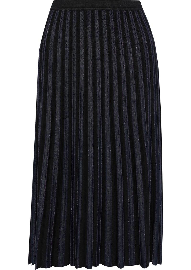 Diane Von Furstenberg Woman Klara Pleated Metallic Stretch-knit Skirt Black