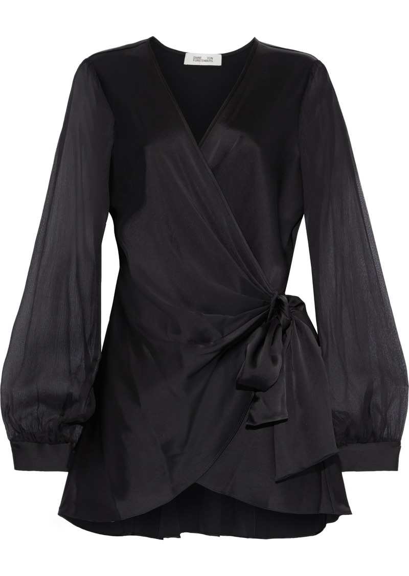 Diane Von Furstenberg Woman Klee Georgette-paneled Satin Wrap Top Black