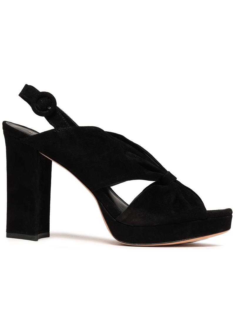 Diane Von Furstenberg Woman Heidi Knotted Suede Platform Slingback Sandals Black