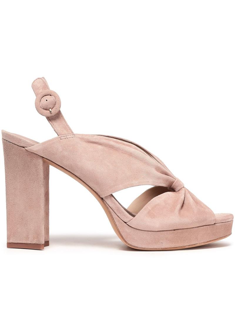 Diane Von Furstenberg Woman Heidi Knotted Suede Platform Slingback Sandals Blush
