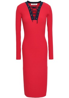 Diane Von Furstenberg Woman Lace-up Ribbed-knit Midi Dress Red