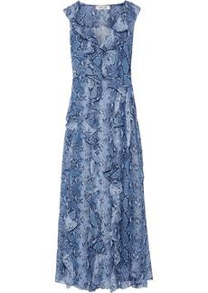 Diane Von Furstenberg Woman Lacey Ruffled Printed Silk-georgette Maxi Wrap Dress Light Blue