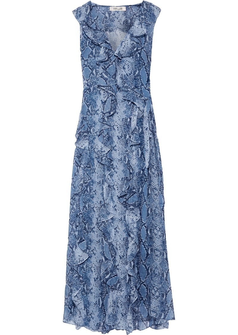 Diane Von Furstenberg Woman Lacey Ruffled Printed Silk-georgette Maxi Wrap Dress Light Blue
