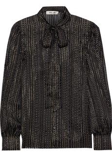 Diane Von Furstenberg Woman Lanie Pussy-bow Printed Burnout Silk-blend Blouse Black