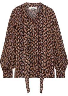 Diane Von Furstenberg Woman Lanie Tie-neck Printed Fil Coupé Silk-blend Blouse Orange