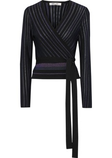 Diane Von Furstenberg Woman Metallic Striped Ribbed-knit Wrap-top Black