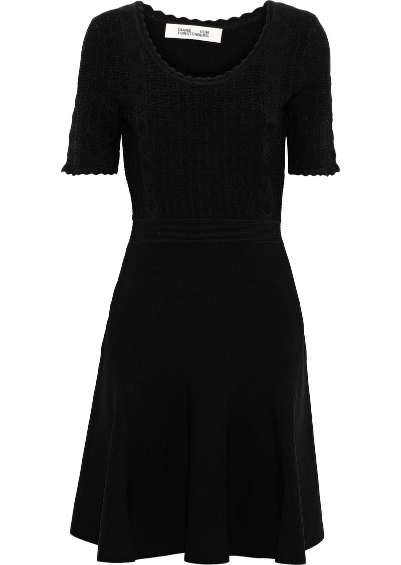 Diane Von Furstenberg Woman Lark Scalloped Ponte Mini Dress Black