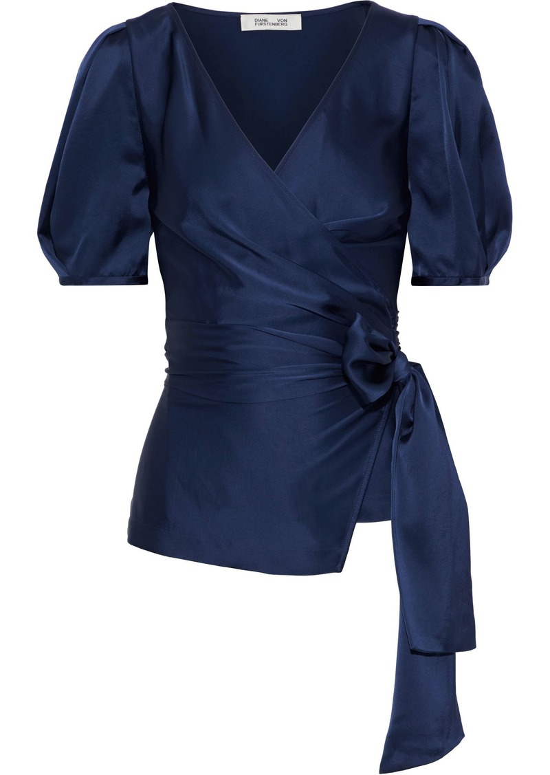Diane Von Furstenberg Woman Larryn Satin Wrap Top Navy