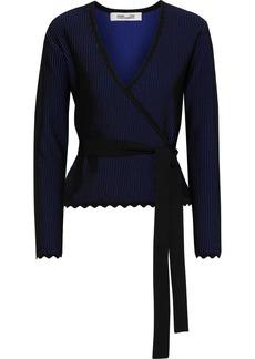 Diane Von Furstenberg Woman Laura Ribbed Jacquard-knit Wrap Top Black