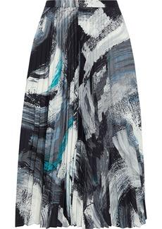 Diane Von Furstenberg Woman Lay Pleated Printed Crepe De Chine Skirt Black