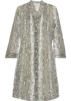 Diane Von Furstenberg Woman Layla Pintucked Snake-print Silk-chiffon Mini Dress Animal Print