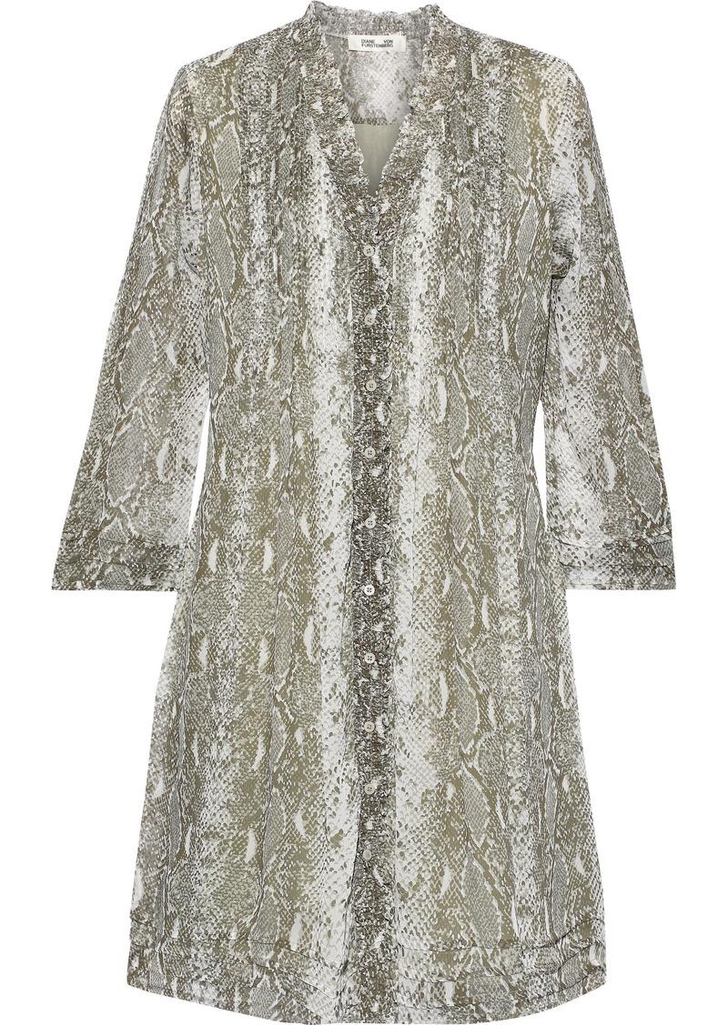 Diane Von Furstenberg Woman Layla Printed Silk-georgette Mini Dress Animal Print
