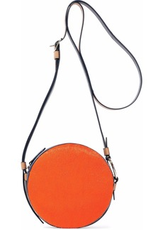 Diane Von Furstenberg Woman Circle Leather-trimmed Calf Hair Shoulder Bag Orange