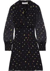 Diane Von Furstenberg Woman Leena Shirred Printed Silk-georgette Mini Dress Black