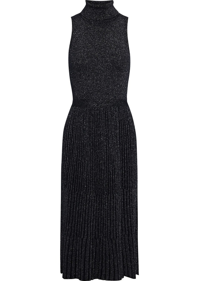 Diane Von Furstenberg Woman Lennon Pleated Metallic Merino Wool-blend Turtleneck Midi Dress Black