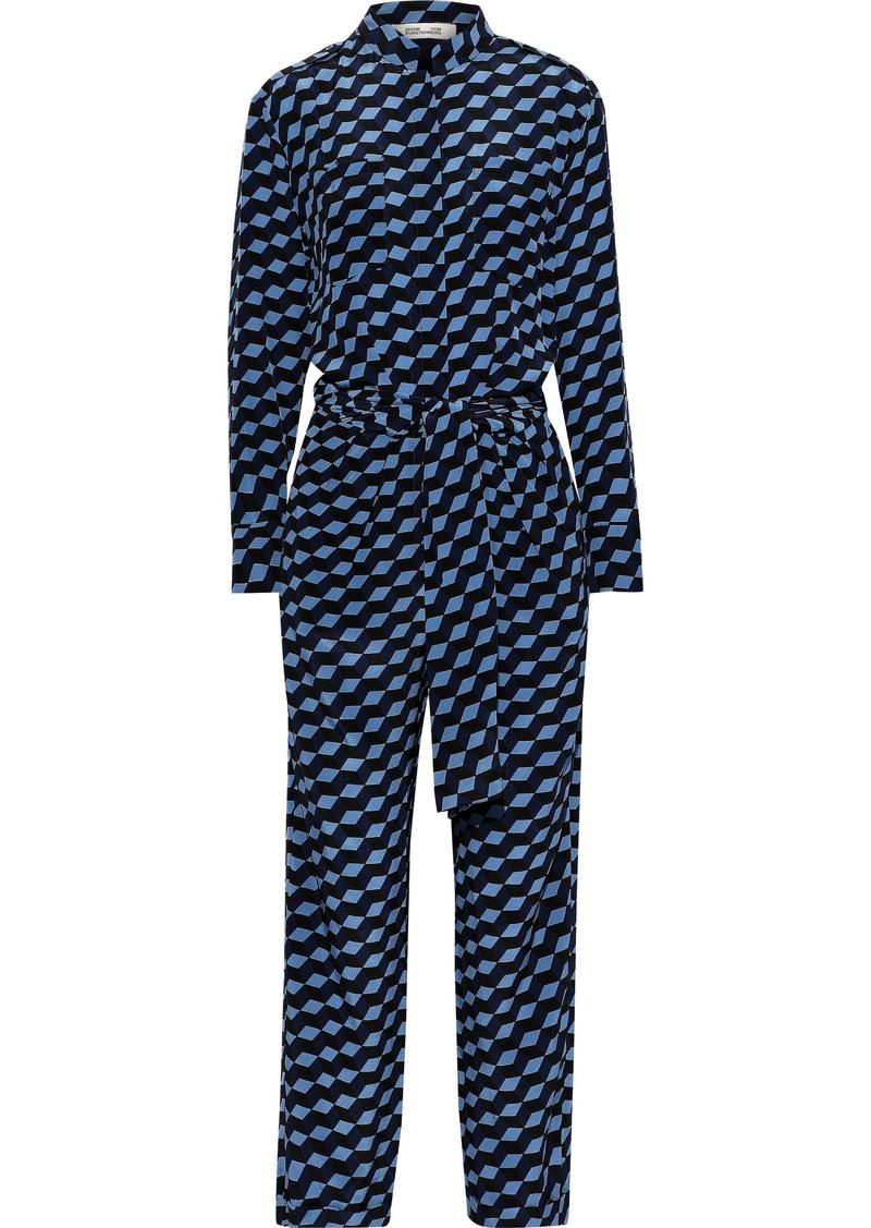 Diane Von Furstenberg Woman Leone Tie-front Printed Silk Crepe De Chine Jumpsuit Blue