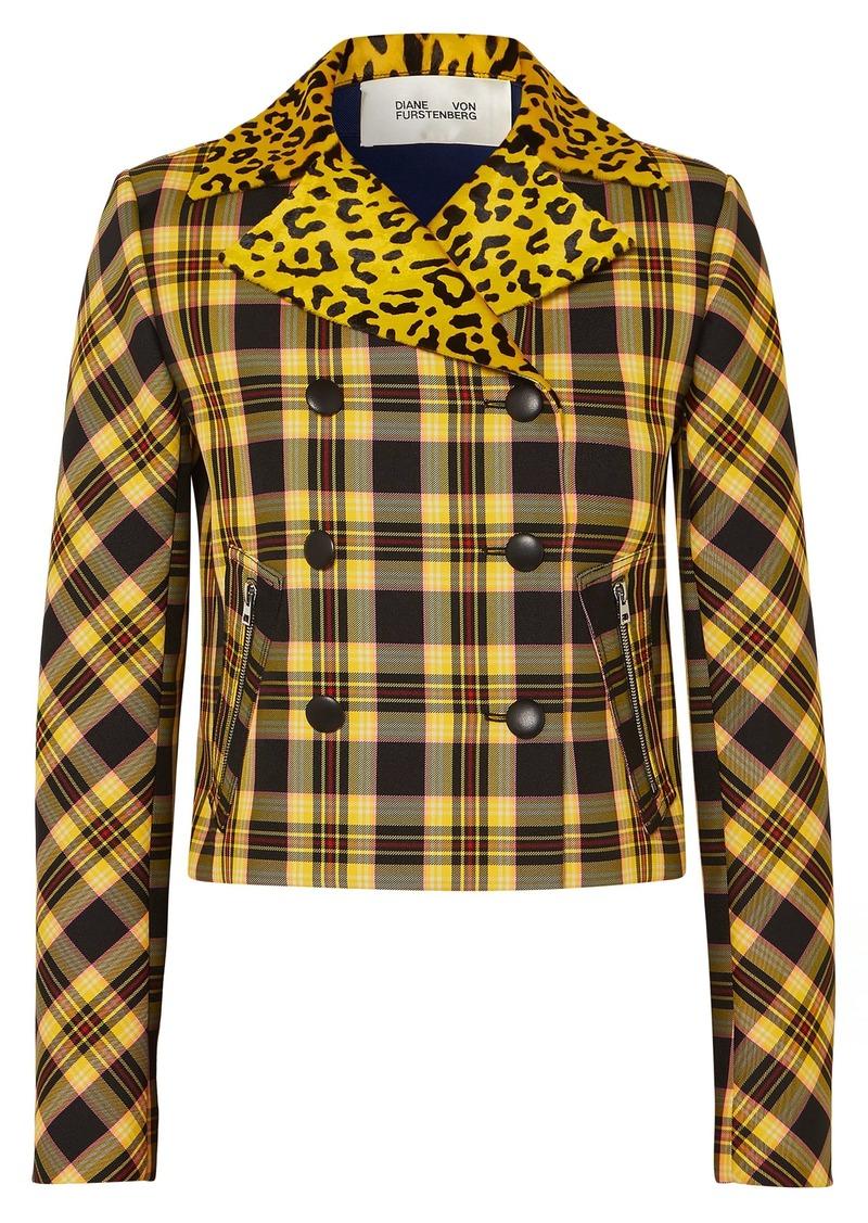 Diane Von Furstenberg Woman Leopard-print Calf Hair And Checked Twill Jacket Marigold
