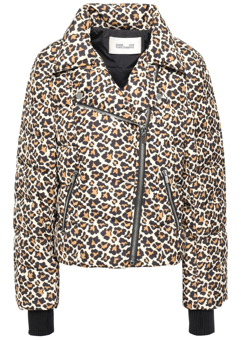Diane Von Furstenberg Woman Leopard-print Quilted Shell Down Jacket Animal Print