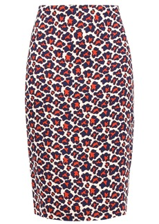 Diane Von Furstenberg Woman Leopard-print Stretch-crepe Pencil Skirt Brick