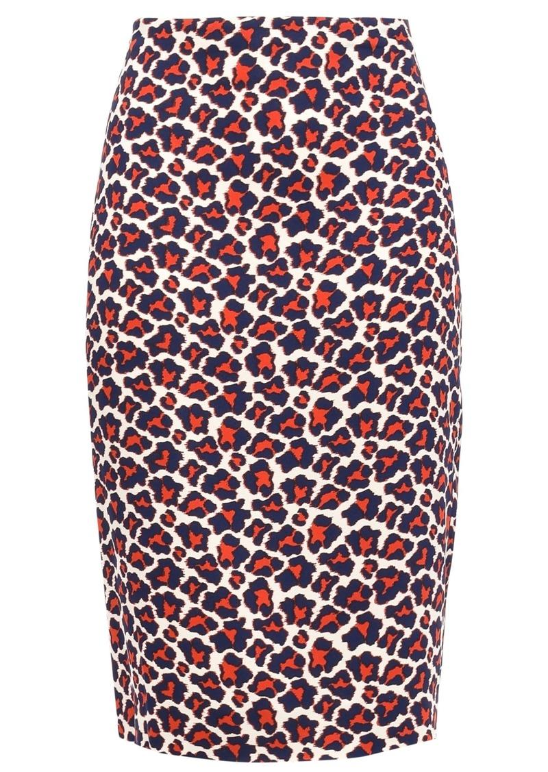 Diane Von Furstenberg Woman Leopard-print Stretch-crepe Pencil Skirt Brick
