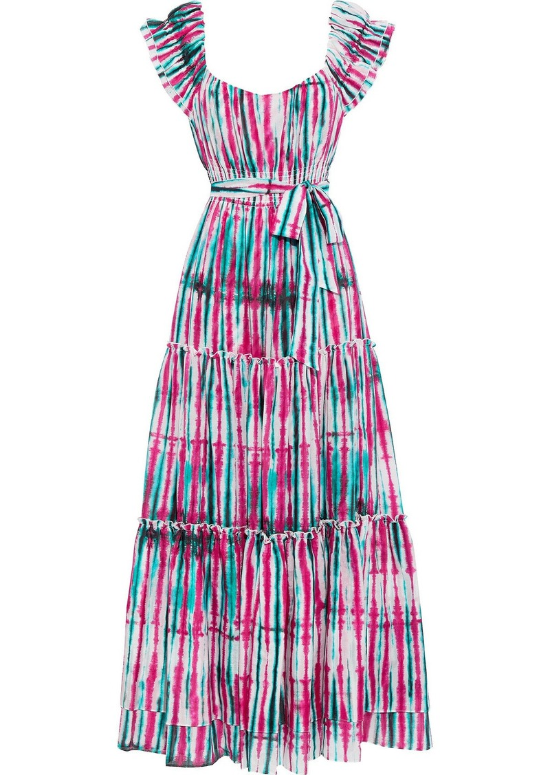 Diane Von Furstenberg Woman Lexie Tiered Tie-dyed Cotton And Silk-blend Voile Maxi Dress Fuchsia